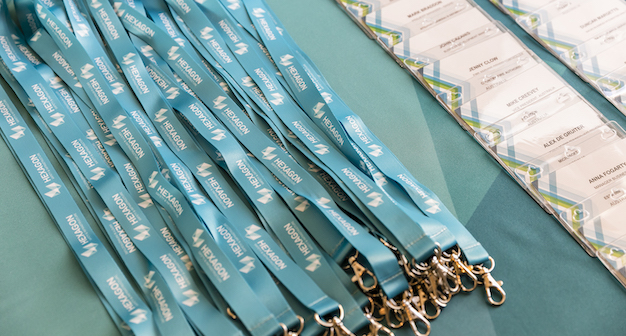 Hexagon lanyards and name badges